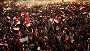 Thousands of people fill Cairo's Tahrir Square to celebrate after the army deposed President Mohammed Morsi