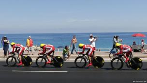 Riders of Cofidis team compete during the a team time-trial and fourth stage of the 100th edition of the Tour de France cycling race in Nice, France.