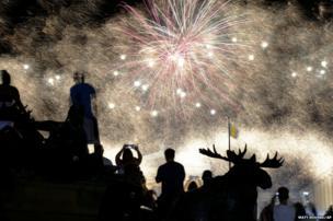 Fireworks explode over the Philadelphia Museum of Art