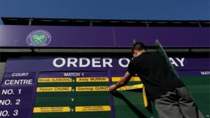 Finalists Novak Djokovic and Andy Murray's names were erected on the Order of Play as excitement built for the historic occasion.