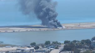 Ki Siadatan sent this image after witnessing a Boeing 777 aircraft crash-land at San Francisco airport