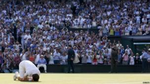 Murray dropped to his knees when he won the match, following a gruelling last game which he won on the fourth Championship point.