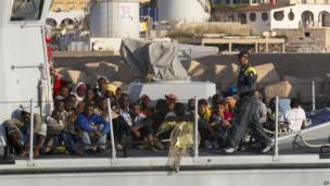 Immigrants on board boat in Lampedusa