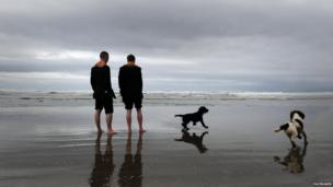 Orangemen and dogs on beach
