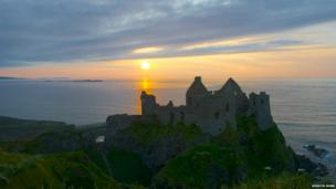 Dunluce Castle at sunset, by Mervyn Robb