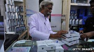 Shop sells iPhones in India