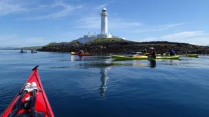 Kayaks near Eilean Musdile lighthouse