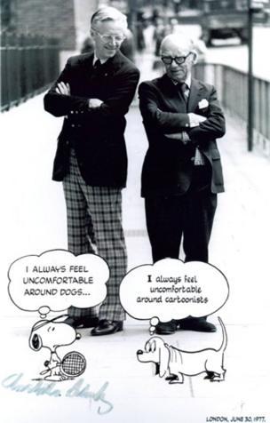 Photograph of cartoonists Schulz and Alex Graham