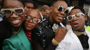 Race goers sporting jewelled glasses at the Greyville Racecourse in Durban, South Africa - Saturday 6 July 2013