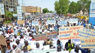 Ruling party supporters in Burkina Faso show their support for Blaise Compaore, Ouagadougou, Burkina Faso - Saturday 6 July 2013