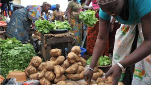 Vegetable stalls at Abobo market in Abidjan, Ivory Coast - Tuesday 9 July 2013
