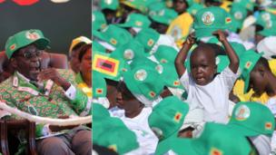 L: President Robert Mugabe yawning R: A young child in a crow of people wearing Robert Mugabe caps - both in Harare, Zimbabwe - Friday 5 July 2013