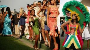 Glamorous race goers, one dressed in a Nelson Mandela-inspired outfit, at the Greyville Racecourse in Durban, South Africa - Saturday 6 July 2013