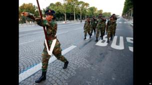 Sierra Leonean troops in Paris, France - Tuesday 9 July 2013