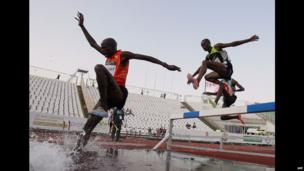 Ugandan athlete Benjamin Kiplagat competing in an event at a stadium in Budapest, Hungary - Wednesday 10 July 2013