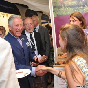 The Prince of Wales and stall holders