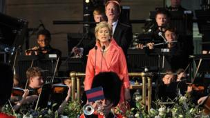 Dame Kiri De Kanawa performs during The Coronation Festival Evening Gala at Buckingham Palace