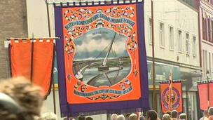 The new Peace Bridge in the city was also depicted on a lodge's banner, heralding the citys tenure as UK City of Culture 2013.