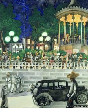 El Paseo by Edward Burra, circa 1938