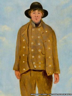 Detail of portrait of John Bryant, Mine Agent, Hirwaun attributed to William Jones Chapman (?1808 – after 1871), on display at National Museum Cardiff, given by Miss Sylvia Crawshay, 2012