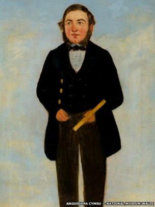 Detail of portrait of Rees Davies, Mechanic, Hirwaun attributed to William Jones Chapman (?1808 – after 1871), on display at National Museum Cardiff, given by Miss Sylvia Crawshay, 2012