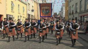 In Newtownhamilton, County Armagh, eleven District Lodges were on parade. They were accompanied by 80 bands of every type, including pipe bands.