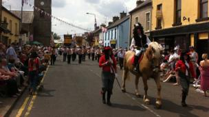 Marchers from 15 districts in County Fermanagh were led on parade by William of Orange through the streets of Ballinamllard.