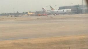 Heathrow fire on a parked Ethiopian Airlines Boeing 787 Dreamliner jet. Photo: Ajay
