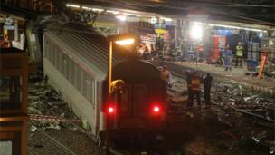 The scene where a train derailed, at the station, in Bretigny sur Orge, 12 July 2013