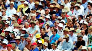 Cricket fans on day four of the First Investec Ashes Test match at Trent Bridge, Nottingham.