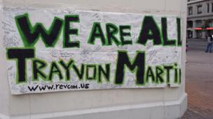 Banner on wall in support of 17 year-old Trayvon Martin who was fatally shot in Florida in 2012. Photo: Antonio Michael Green
