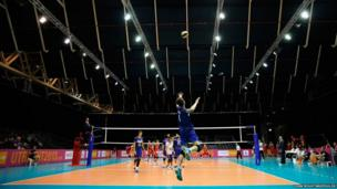 Jean Patry of France jumps to serve during the boys Volleyball match between France and Belgium on Day 1 of the European Youth Olympic Festival held at Jaarbeurs Utrecht, Netherlands.