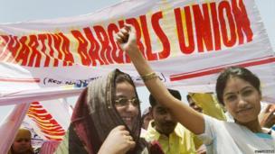 Bar dancers protest/Mumbai/2005