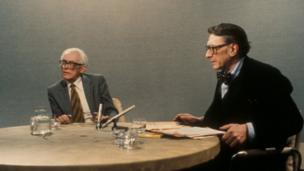 Michael Foot with the BBC's Question Time presenter Sir Robin Day