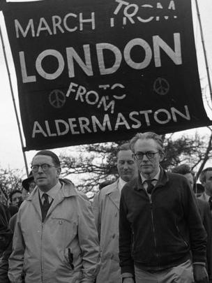 Michael Foot, right, leading a march against the use of nuclear weapons from the Atomic Weapons Research Establishment in Aldermaston in March 1961