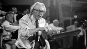 Michael Foot at the podium getting his message across with passion, 11th April 1972