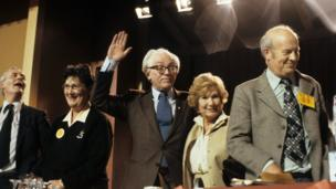 Labour leader Michael Foot leads the singing of Auld Lang Syne and The red Flag at the end of the 1982 Labour Party Conference in Blackpool inc Tony Benn (far left) and Jill Craigie (wife of Michael Foot)