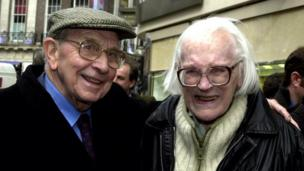 Michael Foot (right) and former general secretary of the Transport and General Workers Union Jack Jones during the launch of a blue plaque in honour of trade union leader and statesman Ernest Bevin, unveiled by Foreign Secretary Robin Cook in South Molton Street, Mayfair Friday 9 March 2001