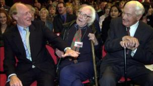 Former Labour leaders Neil Kinnock, Sir Michael Foot and Lord Callaghan, at the Labour party conference held in Brighton, 2000