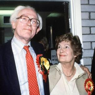 Michael Foot with his wife Jill Foot (formerly Jill Craigie), after election result in his constituency, during the 1983 Election.