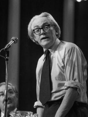 Michael Foot speaking at the Labour Party Conference in Blackpool, while fellow politician and future Prime Minister, Jim Callaghan, looks on. 5th October 1973