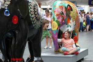 Elephant parade preview at King's Cross Station in London