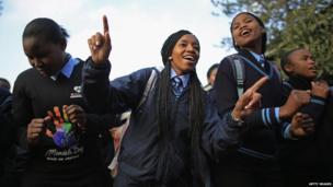 Pupils at Phefeni High School, Soweto, sing Happy Birthday to Nelson Mandela (18 July)
