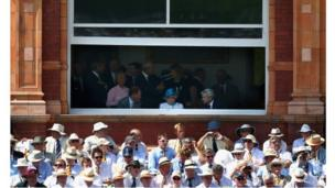 The Queen watching the second Test begin