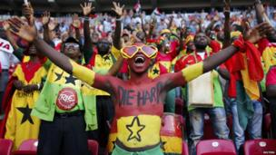 Ghana team fans cheer during a Fifa Under-20 tournament between Ghana and Iraq in Istanbul - Saturday 13 July 2013