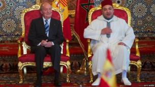 King Juan Carlos of Spain (L) and Morocco's King Mohammed VI (R) sitting at the Royal Palace in Rabat, Morocco – Tuesday 16 July 2013