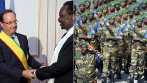 Left: Mali's President Dioncounda Traore and French President Francois Hollande, wearing a sash at Mali's embassy in Paris, France - Monday 15 July 2013. Right: Malian soldiers during the Bastille Parade in Paris, France - Sunday 14 July 2013