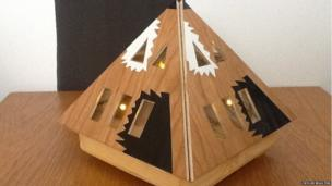A wooden light structure