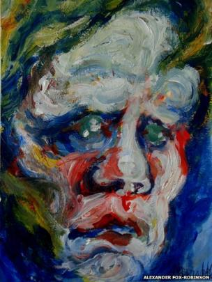 A painting of a face