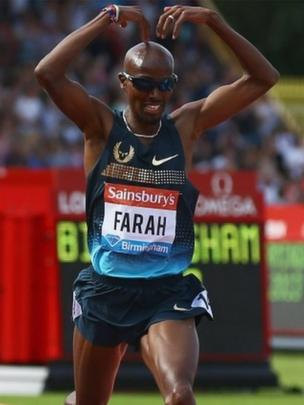 "Mo Farah wins the Mens 500m during the Sainsbury""s Grand Prix Birmingham IAAF Diamond League at Alexander Stadium last month"